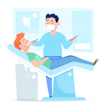 Cartoon tandheelkundige zorg concept met patiënt