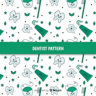 Cartoon tandheelkundige zorg gereedschappen patroon
