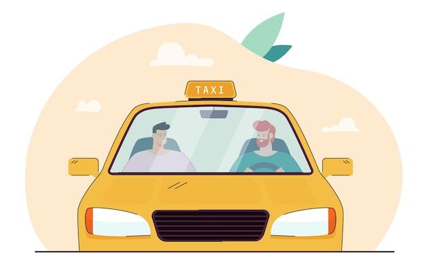 Cartoon taxichauffeur in gesprek met passagier achter voorruit