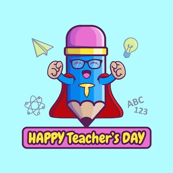 Cartoon teacher's day illustratie. premium vector