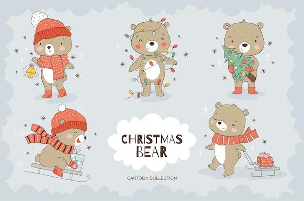 Cartoon teddybeer tekensverzameling.