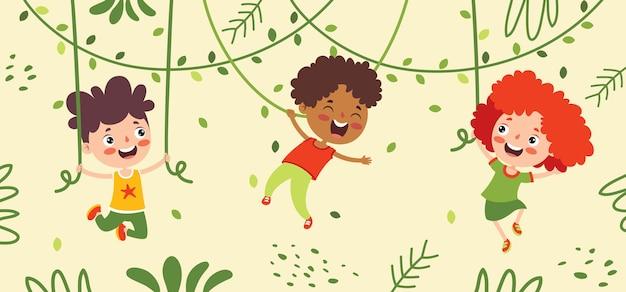 Cartoon tekening van gelukkig karakter swingen