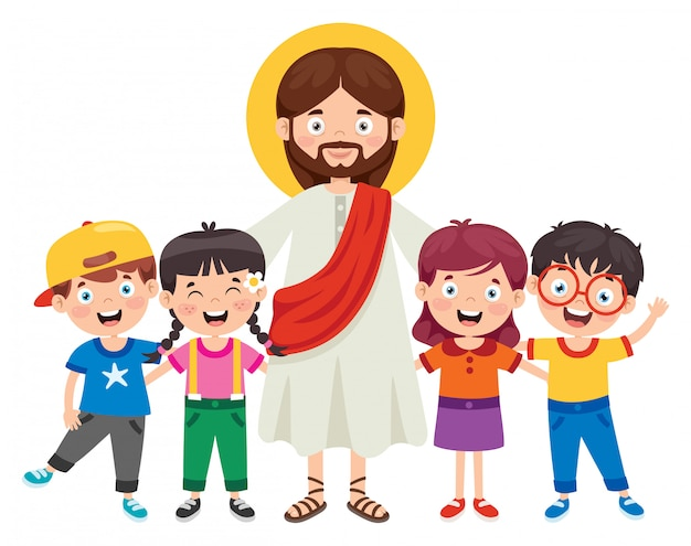 Cartoon tekening van jezus christus Premium Vector
