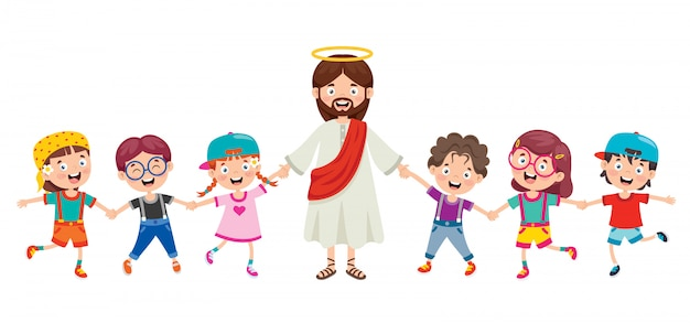 Cartoon tekening van jezus christus Premium Vector
