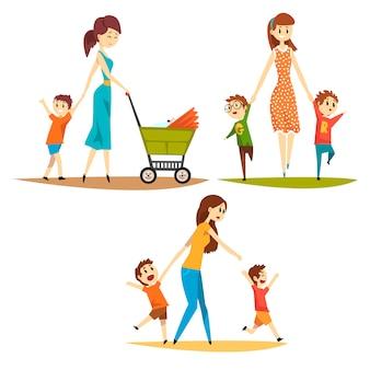 Cartoon tekenset van jonge moeders met kinderen. mooie vrouw met pasgeboren in kinderwagen, voorschoolse ondeugende jongens. moederschap concept. platte vectorillustratie