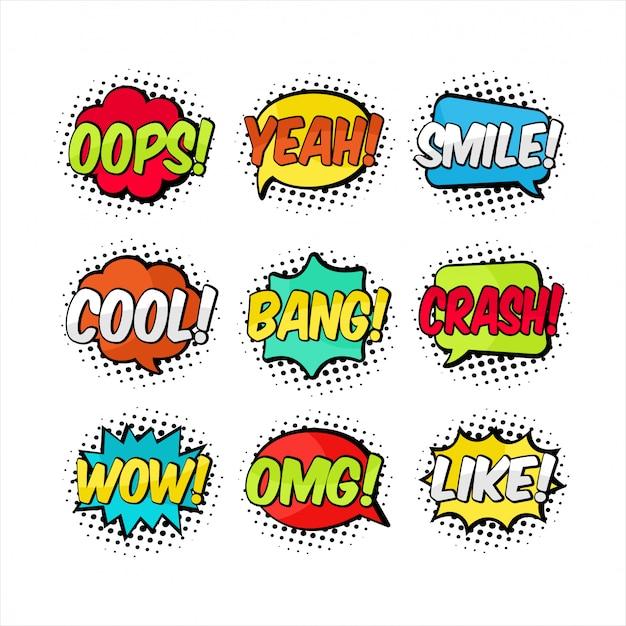 Cartoon tekstballon set