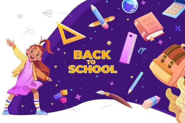 Cartoon terug naar school achtergrond