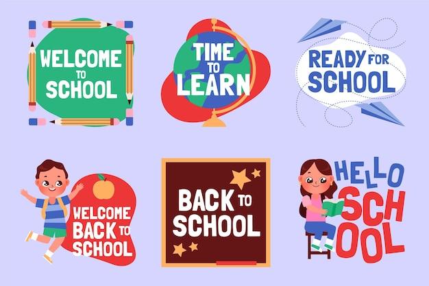 Cartoon terug naar school etiketten collectie