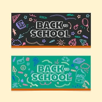 Cartoon terug naar school horizontale banners set