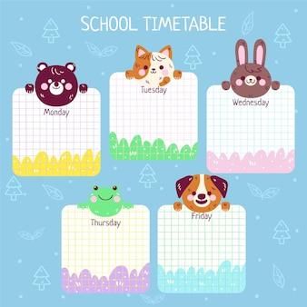 Cartoon terug naar school tijdschema sjabloon