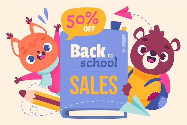 Cartoon terug naar school verkoop achtergrond