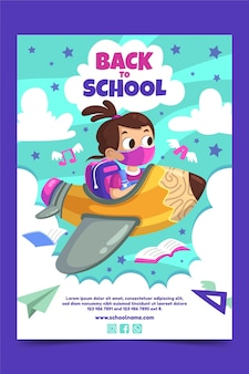 Cartoon terug naar school verticale postersjabloon