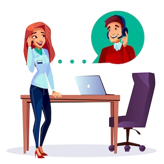 Cartoon tevreden klant bellen naar gebruiker helpline operator man in de hoofdtelefoon.