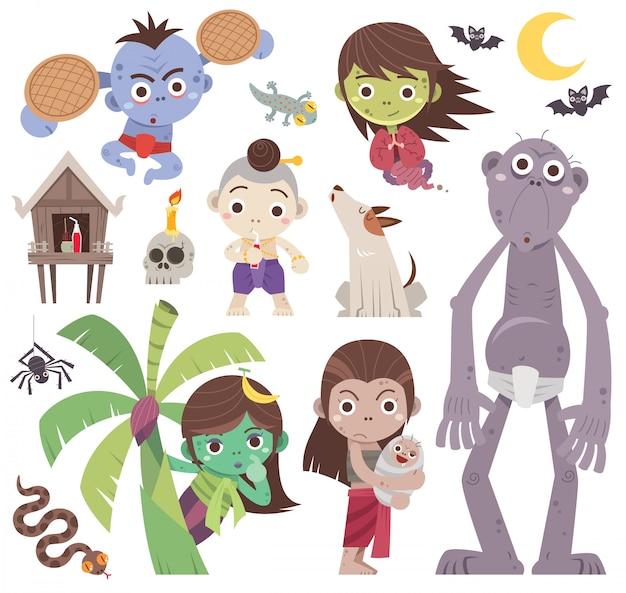 Cartoon thaise geest set, thaise geesten karakter.