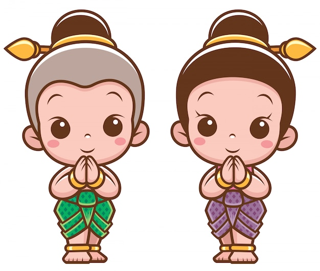 Cartoon thaise kinderen