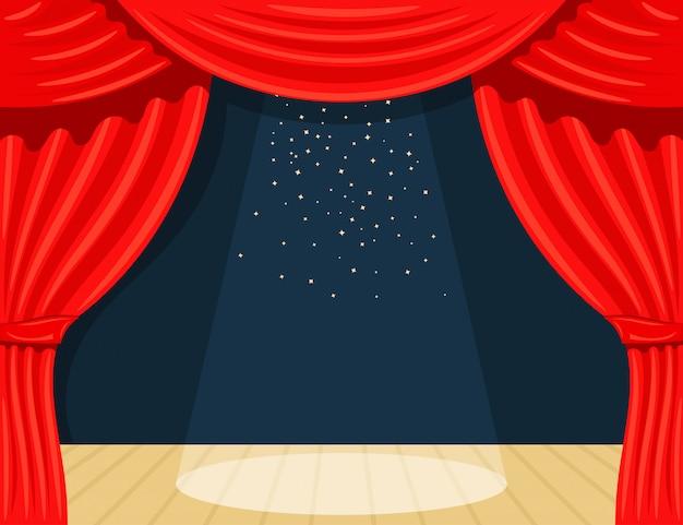 Cartoon theater. theatergordijn met schijnwerpersbalk en sterren. open theatergordijn. rode zijden bijscènes op het podium