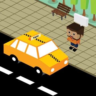 Cartoon thema isometrische taxi