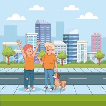 Cartoon tiener jongen en meisje zwaaien in de straat