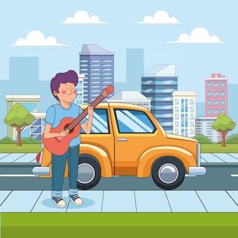 Cartoon tiener jongen gitaar spelen in de straat