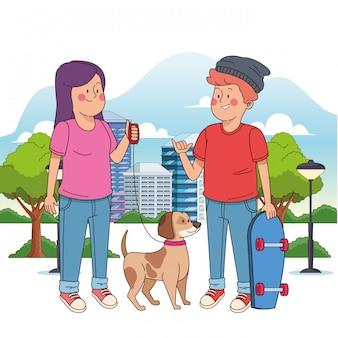 Cartoon tiener jongen met skateboard en meisje