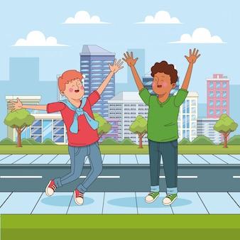 Cartoon tienerjongens plezier in de straat