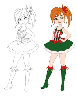 Cartoon tienermeisje kerst elf kostuum dragen.