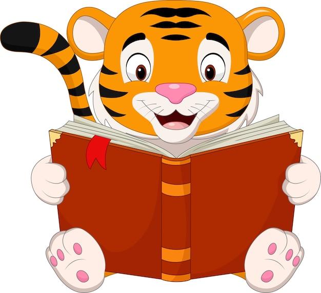 Cartoon tijger die een boek leest