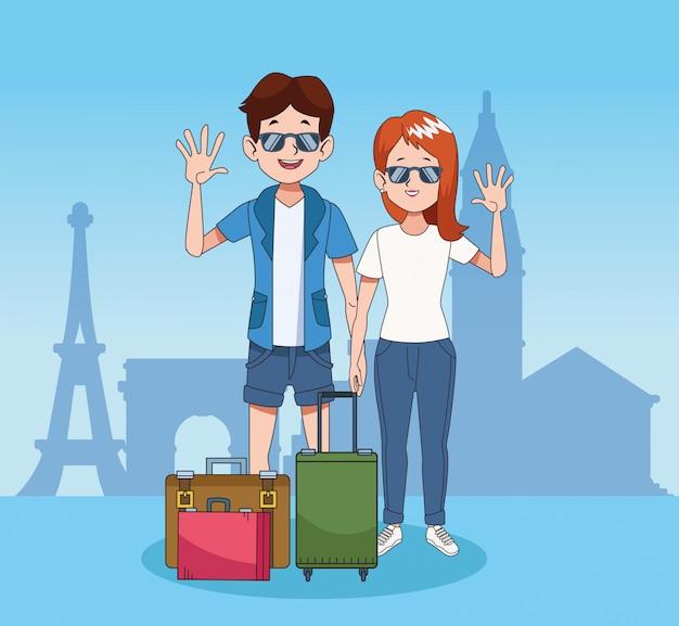Cartoon toeristen en wereld reizen ontwerp