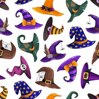 Cartoon tovenaar en heksenhoeden naadloos patroon