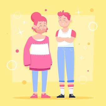 Cartoon transgenders geïllustreerd