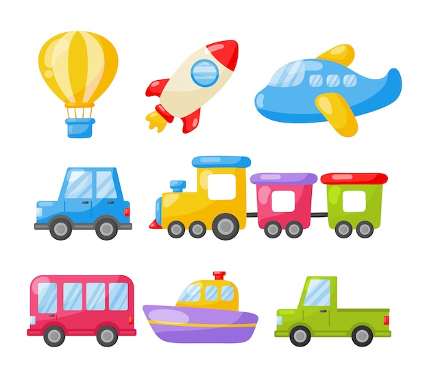 Cartoon transport speelgoed icon set. auto's, boot, helikopter, raket, ballon en vliegtuig i