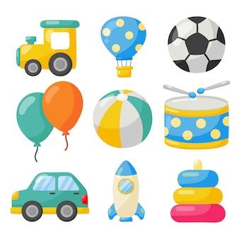 Cartoon transport speelgoed icon set. auto's, helikopter, raket, ballon en vliegtuig op wit wordt geïsoleerd