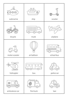 Cartoon transportmiddelen met namen in het engels.