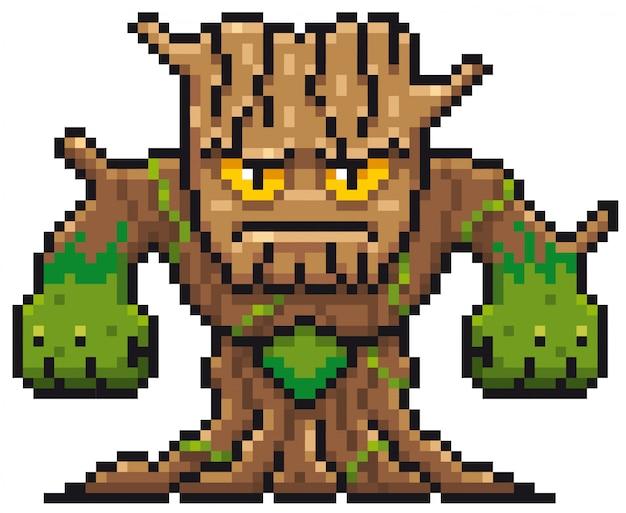 Cartoon tree monster pixel ontwerp