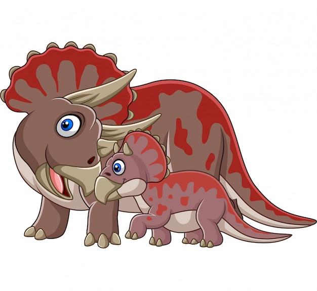 Cartoon triceratops met haar baby