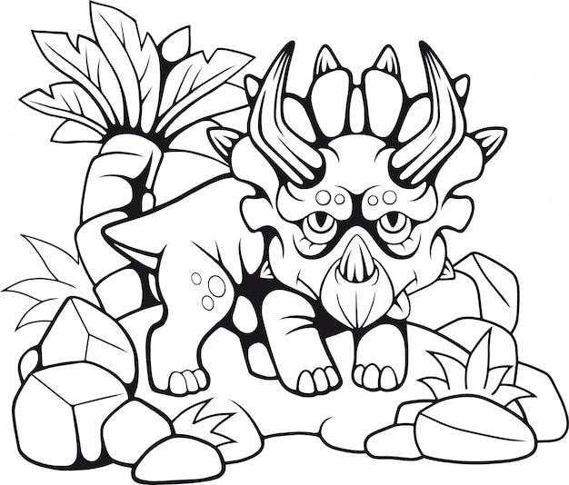 Cartoon triceratops Premium Vector
