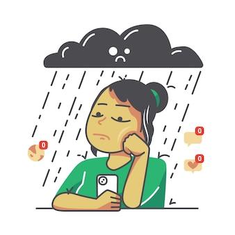 Cartoon triest vrouw illustratie