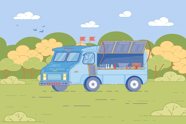 Cartoon truck op street food festival in park