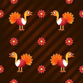Cartoon turkije vogels met bloemen versierd op bruine streep achtergrond.