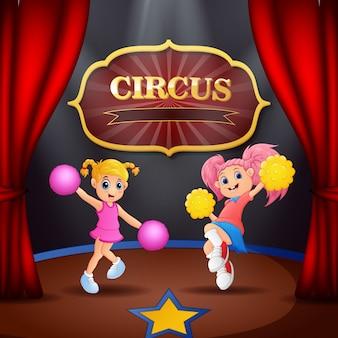 Cartoon twee cheerleaders meisje prestaties op het podium