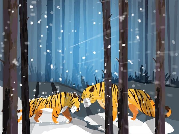 Cartoon twee leeuwen samen spelen op bos sneeuw vallende achtergrond.