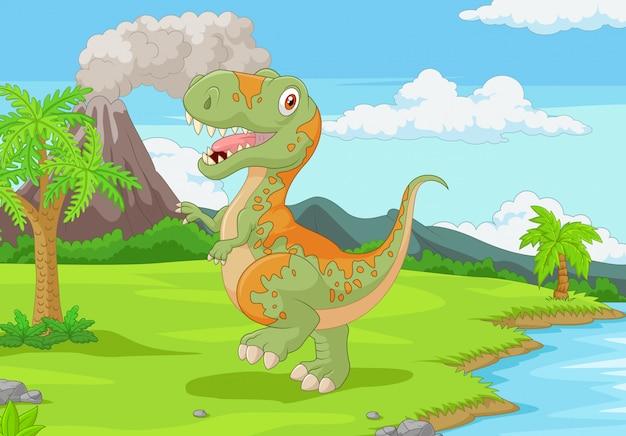 Cartoon tyrannosaurus in de jungle