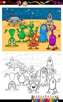 Cartoon ufo aliens groep kleurplaat