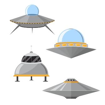 Cartoon ufo kosmisch schip en vliegende schotel set.