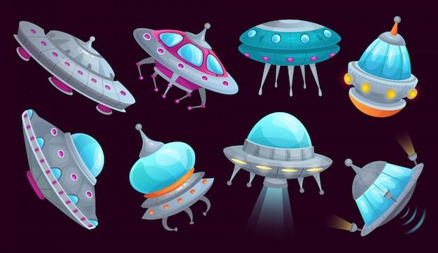 Cartoon ufo ruimteschip. alien ruimtevaartuig futuristisch voertuig, ruimtevaartuigenschip en vliegende schotel geïsoleerde set