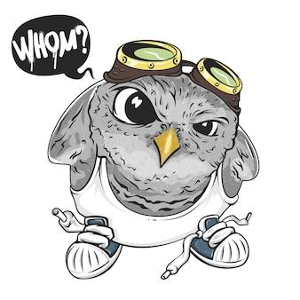 Cartoon uil, illustratie voor print en web. karakter in de moderne grafische stijl. -
