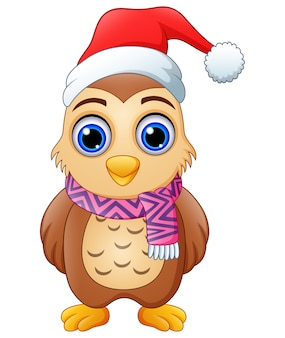 Cartoon uil kerstmuts dragen