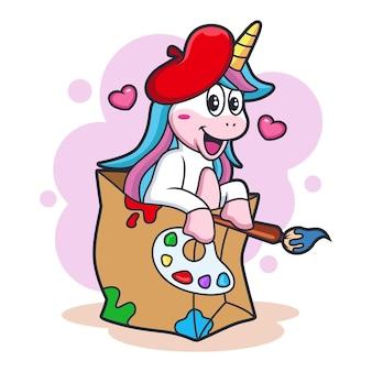 Cartoon unicorn artist met schattige expressie. animal fantasy icon concept, geïsoleerd op een witte achtergrond