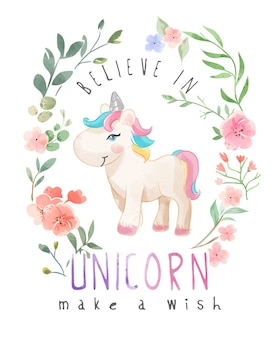 Cartoon unicorn in wild flower illustratie
