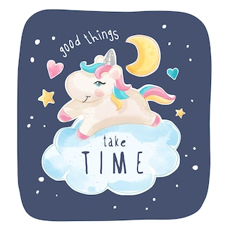 Cartoon unicorn op de wolk met maan en ster illustratie